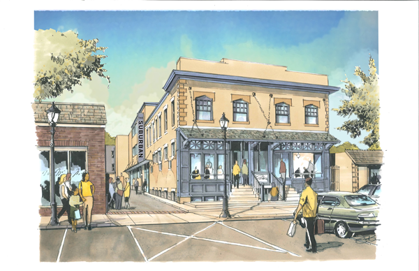 Rendering of exterior facade restoration, with new alley entrance.